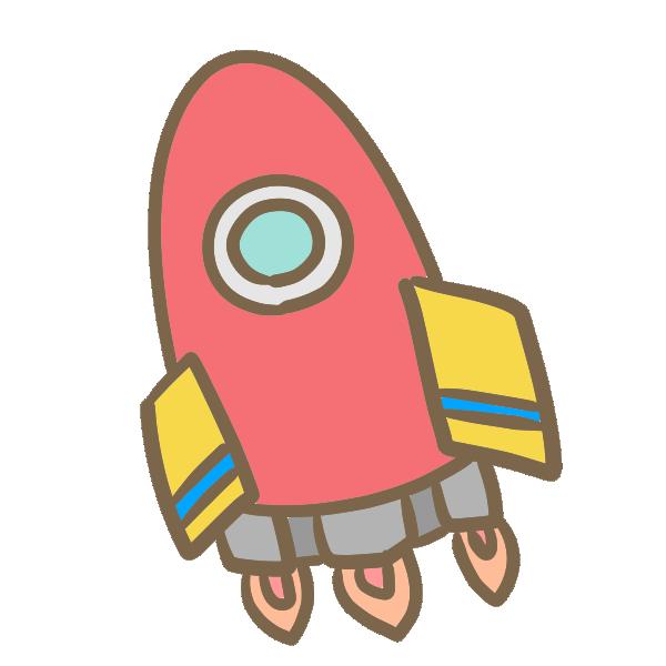 ロケット(赤)のイラスト