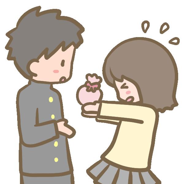 チョコを渡す女の子のイラスト
