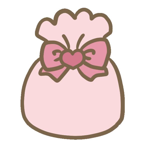 ハートの巾着のイラスト