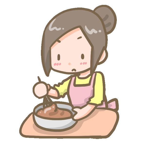 チョコを作る女の子のイラスト