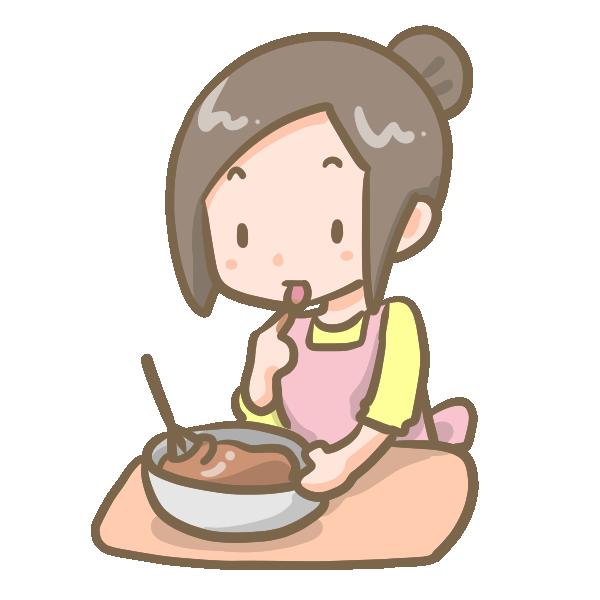 チョコを作る女の子(味見)のイラスト