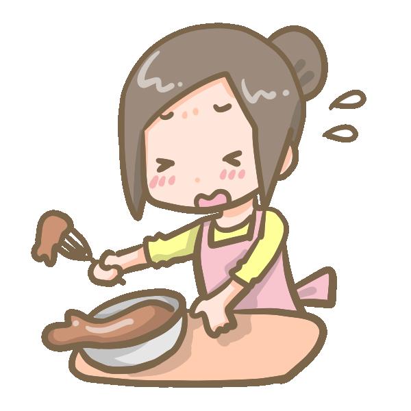 チョコを作る女の子(失敗)のイラスト