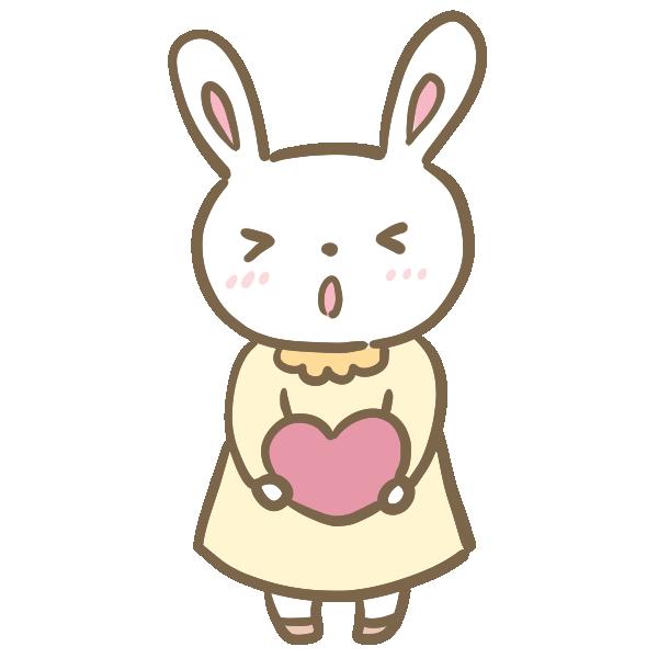 告白するウサギの女の子のイラスト