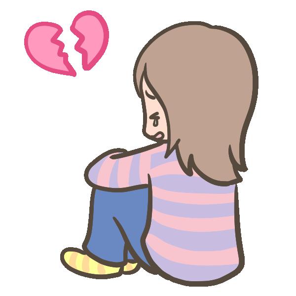 失恋した女の子のイラスト