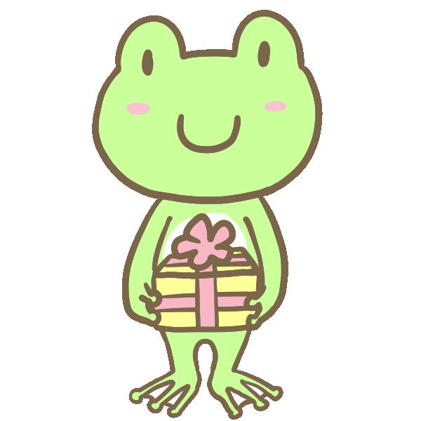プレゼントを渡すカエルくんのイラスト