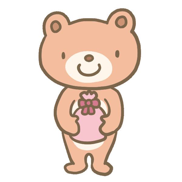 プレゼントを渡すクマくんのイラスト