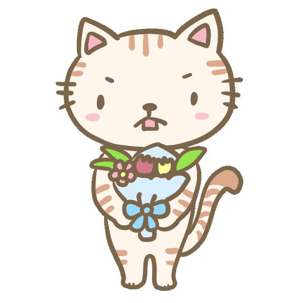 花束を渡すネコくんのイラスト