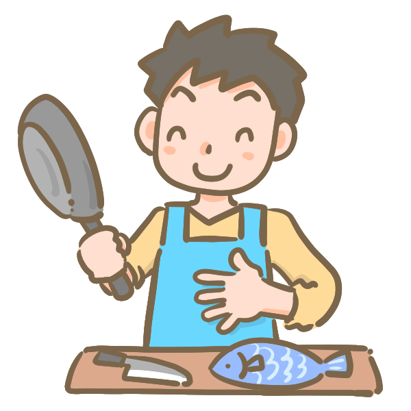 料理をふるまう男性のイラスト