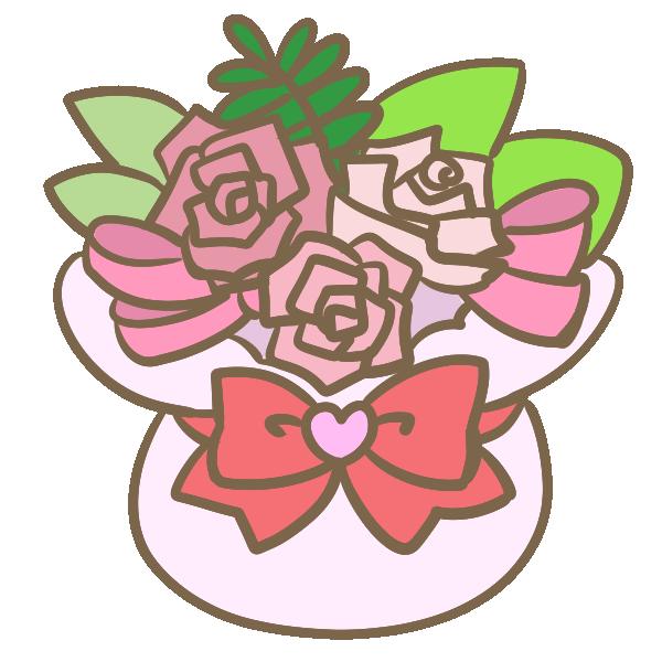プリザの寄せ植え(暖色)のイラスト