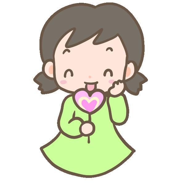 キャンディを食べる女の子のイラスト