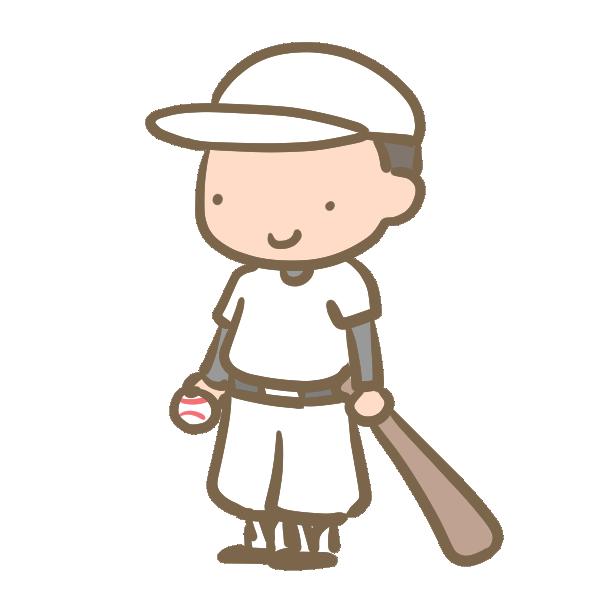 野球少年(バット)白のイラスト