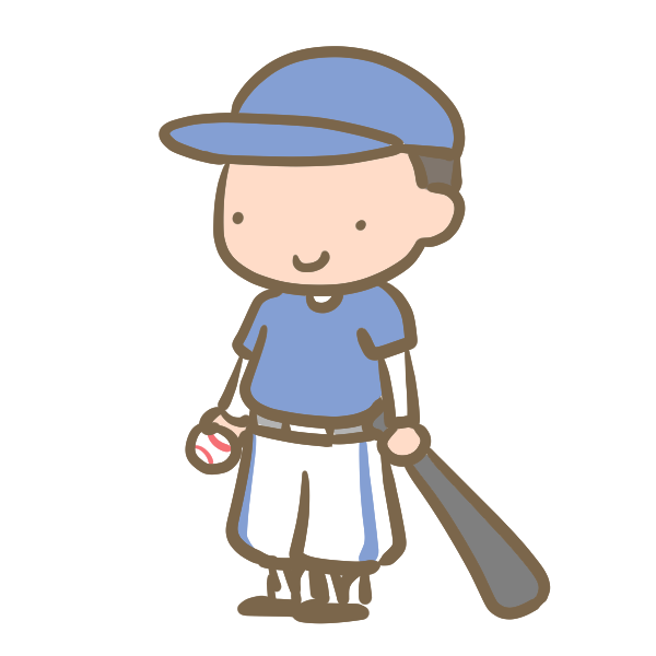 野球少年(バット)青のイラスト