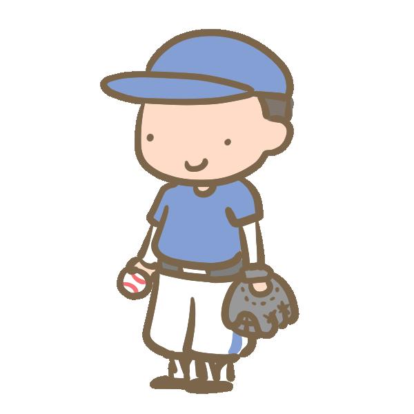 野球少年(グローブ)青のイラスト
