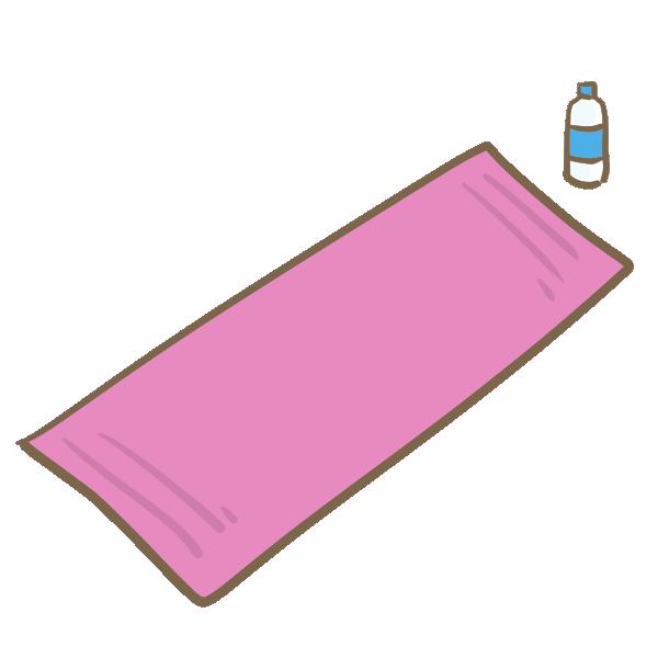 ヨガマットと給水ボトルのイラスト