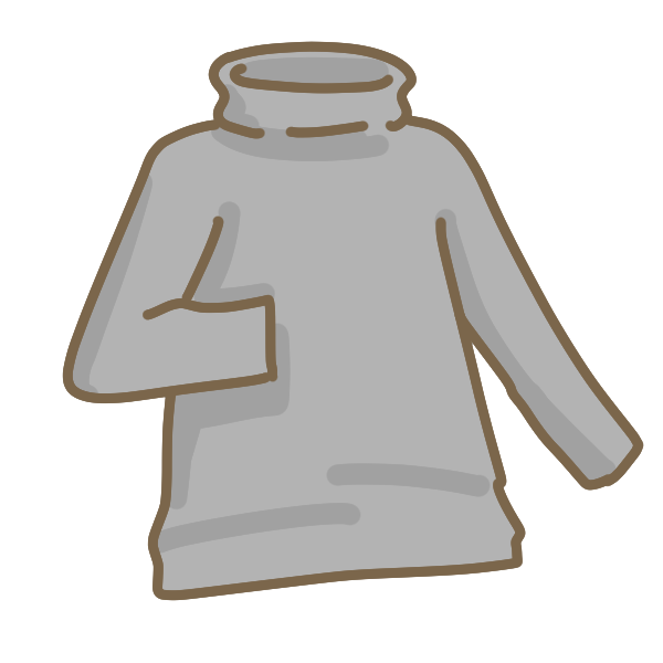 タートルネックの黒シャツのイラスト