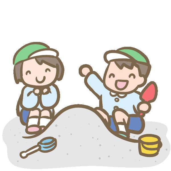砂場で遊ぶ園児のイラスト