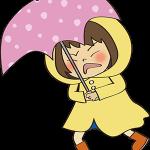 雨の中を歩く女の子