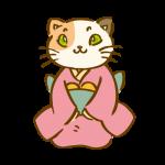 着物を着た三毛猫2