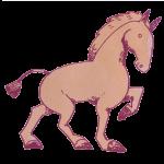 淡いピンクの馬