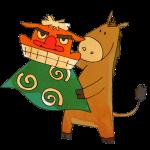 獅子舞を持つ馬