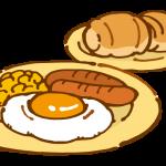 朝食(目玉焼きとパン)