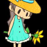 ひまわりと麦藁帽子