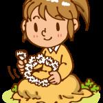 花冠を作る女の子