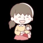 ひな人形をもつ女の子