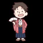 赤色の袴を着た男の人