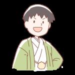 緑色の袴を着た男の人