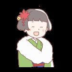 緑色の着物を着ている成人女性