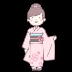 桃色の着物を着た成人女性