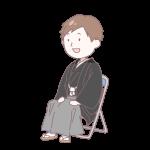 黒い袴を着て座っている成人男性