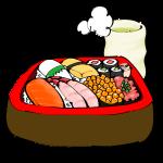 桶に入ったお寿司と温かいお茶