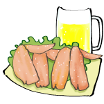 手羽先唐揚げとビール