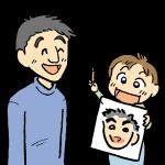 子供が似顔絵を描く