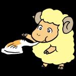 お餅を食べる羊