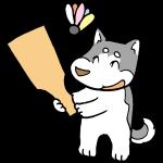 羽子板と犬
