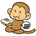 お餅を食べる猿
