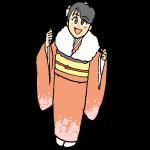 振袖を着た成人女性