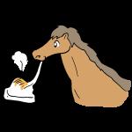 お餅を食べる馬