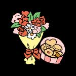花束とクッキー
