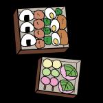 お弁当(唐揚げとお団子)