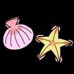 ピンクの貝と黄色いヒトデ