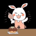 ケーキ作りを成功するウサギ