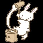 もちつきするウサギ