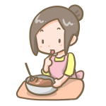 チョコを作る女の子(味見)