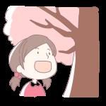 桜を見上げる女の子