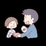 おにぎりを食べる親子