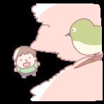 桜の木の上のメジロ